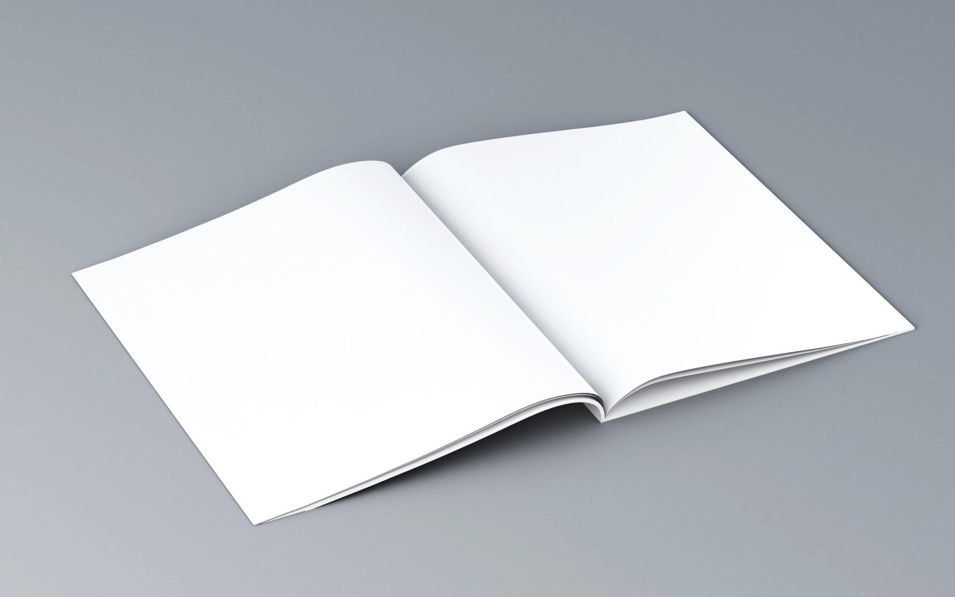 3d opened magazine. Mockup